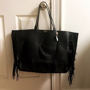 NWT Victoria's Secret Black Fringe Travel Tote